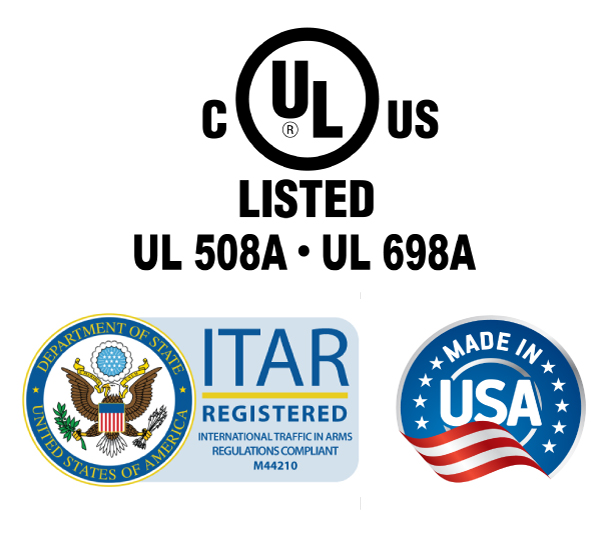 UL 508A - UL 698A - ITAR Regulations Compliant Registration M44210